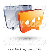 Vector Logo of a Pre-Made Logo of Silver and Orange Chat Windows Above Space for a Business Name and Company Slogan by Beboy