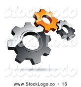 Vector Logo of a Pre-Made Logo of Silver and Orange Gears on White by Beboy