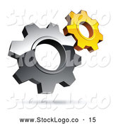 Vector Logo of a Pre-Made Logo of Silver and Yellow Interlocking Gear Cog Wheels by Beboy