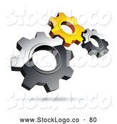 Vector Logo of a Pre-Made Logo of Silver and Yellow Interlocking Metal Gears by Beboy