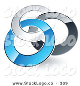 Vector Logo of a Pre-Made Logo of Silver, Gray and Blue Rings Entwined with One Another by Beboy