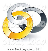 Vector Logo of a Pre-Made Logo of Silver, Gray and Yellow Rings Entwined on White by Beboy