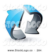 Vector Logo of a Pre-Made Logo of Two Circling Blue and Silver Arrows by Beboy