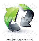 Vector Logo of a Pre-Made Logo of Two Circling Green Recycle Arrows by Beboy