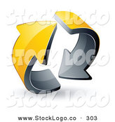 Vector Logo of a Pre-Made Logo of Two Circling Yellow and Black Arrows by Beboy