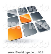 Vector Logo of a Pre-Made Logo of Two Orange Tiles Standing out from Rows of Silver Tiles on White by Beboy