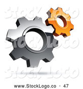 Vector Logo of a Pre-Made Logo of Two Silver and Orange Gear Cog Wheels by Beboy