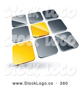 Vector Logo of a Pre-Made Logo of Two Yellow Tiles Standing out from Rows of Silver Tiles on White by Beboy