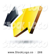 Vector Logo of a Pre-Made Logo of Yellow and Gray Opposing Arrows Going in Opposite Directions by Beboy