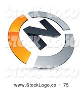 Vector Logo of a Pre-Made Orange and Chrome N Logo on White by Beboy