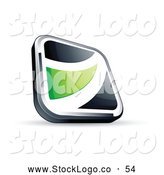 Vector Logo of a Pretty Black Square Button with a Green Wave by Beboy