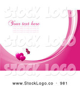 Vector Logo of a Pretty Pink Butterfly Above Two Hearts on Waves of Pink and White, Around White with Space for Text or a Business Name by KJ Pargeter
