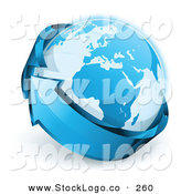 Vector Logo of a Pretty Pre-Made Logo of Planet Earth Being Circled by a Blue Arrow Above a Space for a Business Name and Company Slogan by Beboy