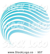 Vector Logo of a Pretty Stock Logo of a Globe of Blue and White Horizontal Waves Above a Space for a Company Name and Information by KJ Pargeter