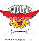 Vector Logo of a Red Cardinals Character School Mascot Logo, on White by Toons4Biz