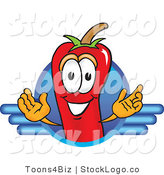 Vector Logo of a Red Hot Chili Pepper Mascot Cartoon Character Logo with Blue Lines by Toons4Biz