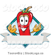Vector Logo of a Red Hot Chili Pepper Mascot Cartoon Character with a Blue Diamond and Blank Label by Toons4Biz