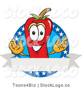 Vector Logo of a Red Hot Chili Pepper Mascot Cartoon Character with Stars and a Blank Label by Toons4Biz