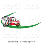 Vector Logo of a Red Lawn Mower Mascot Cartoon Character Facing Front on a Logo or Nametag with a Green Swish by Toons4Biz