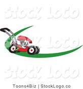 Vector Logo of a Red Lawn Mower Mascot Cartoon Character on a Logo or Nametag with a Green Swoop by Toons4Biz