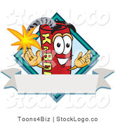 Vector Logo of a Red Lit Dynamite Mascot Cartoon Character with a Blank Ribbon Label by Toons4Biz
