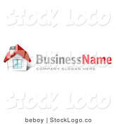 Vector Logo of a Red Roofed House by Beboy