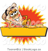 Vector Logo of a Relaxing Pizza Mascot Cartoon Character Reclining on a Blank Yellow and Orange Label by Toons4Biz