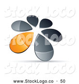 Vector Logo of a Ring of Chrome and Orange Droplets Forming a Windmill by Beboy