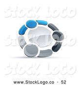 Vector Logo of a Ring of Three Blue, Gray and Black People Holding Hands by Beboy