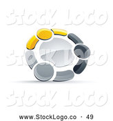 Vector Logo of a Ring of Three Yellow, Gray and Black People Holding Hands by Beboy