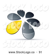 Vector Logo of a Ring or Circle of Chrome and Yellow Droplets Forming a Windmill by Beboy
