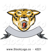 Vector Logo of a Roaring Tiger Head and Blank Banner Logo by Patrimonio