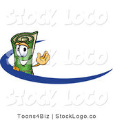 Vector Logo of a Rolled Green Carpet Mascot Cartoon Character Logo with a Blue Swish by Toons4Biz