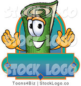 Vector Logo of a Rolled Green Carpet or Sod Mascot Cartoon Character with a Blank Blue Label by Toons4Biz