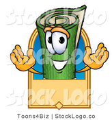 Vector Logo of a Rolled up Green Carpet Mascot Cartoon Character with a Blank Tan Label by Toons4Biz