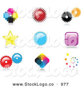Vector Logo of a Set of 9 Colorful Pixelated, Burst, Cogs, Stars, Squares and Spiral Logo Icon Designs with Reflective Shadows by KJ Pargeter