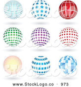 Vector Logo of a Set of Nine Blue, Red, Green and Purple Grid, Star, Lined, Spotted, Burst, and Square Patterned Sphere Logo Icons with Shadows by KJ Pargeter