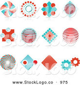 Vector Logo of a Set of Twelve Red and Blue Spiral, Diamond, Globe and Gear Logo Icons over Reflective Surfaces by KJ Pargeter