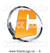Vector Logo of a Shiny Letter C in a Circle, Above Space for a Business Name and Company Slogan by Beboy