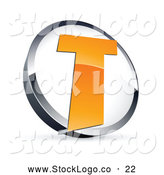 Vector Logo of a Shiny Letter T in a Circle, Above Space for a Business Name and Company Slogan by Beboy