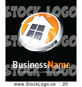 November 1st, 2013: Vector Logo of a Shiny Orange and White House Button, Above Space for a Business Name and Company Slogan on Black by Beboy