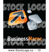 October 31st, 2013: Vector Logo of a Shiny Orange Arrow Plate, Above Space for a Business Name and Company Slogan on Black by Beboy