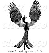 Vector Logo of a Silhouetted Majestic Black Phoenix Fantasy Bird Opening Its Wings by AtStockIllustration