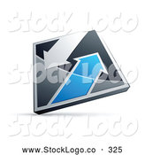 Vector Logo of a Silver and Blue Diamond with Arrows by Beboy
