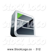 Vector Logo of a Silver Maze with a Green Triangle at the End by Beboy