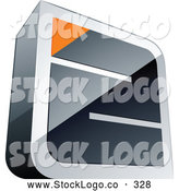 Vector Logo of a Silver Maze with an Orange Triangle at the End by Beboy