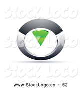 Vector Logo of a Silver or Chrome and Green Circular Knob by Beboy