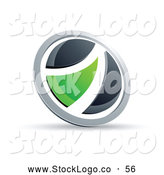 Vector Logo of a Simple Black and Green Round Button by Beboy