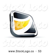 Vector Logo of a Simple Black Square Button with a Yellow Wave by Beboy