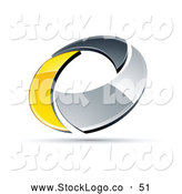 Vector Logo of a Simple Chrome and Yellow Circling Ring by Beboy